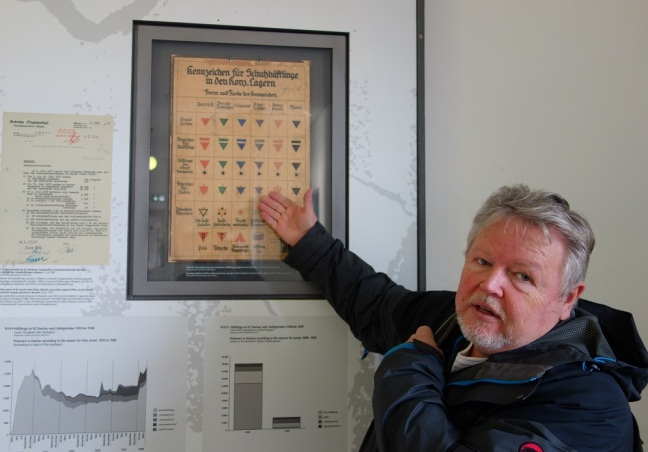 Josef Pröll at the memorial site of the Dachau concentration camp in Germany. He points at a display board which explains the different types of inmates between 1933 and 1944.