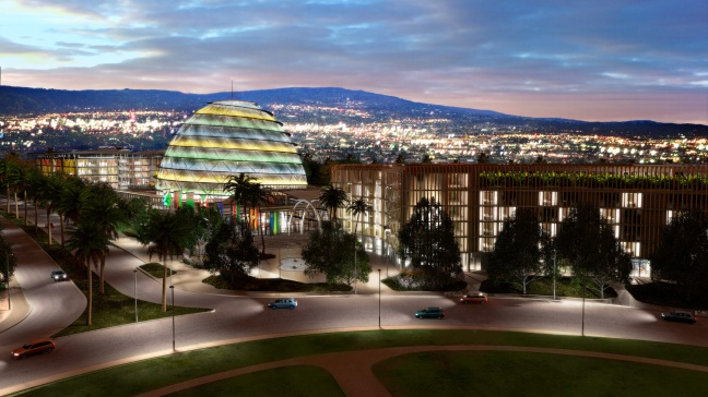 Plan drawing picture of the Kigali Convention Complex at night.