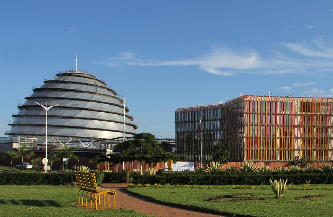 The dome and the five-star hotel of the Kigali Convention complex in Rwanda
