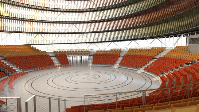 The Kigali convention centre's spiral-formed arena is designed for up to 2600 visitors.